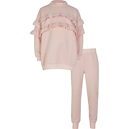 Girls pink frill tracksuit