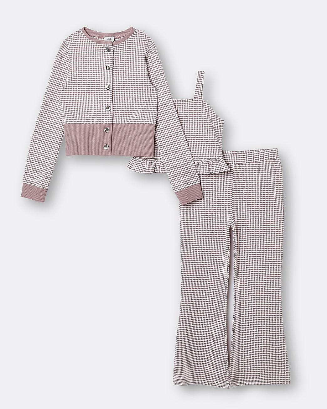Girls pink gingham cardigan outfit