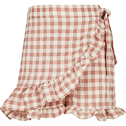 Girls pink gingham frill wrap shorts