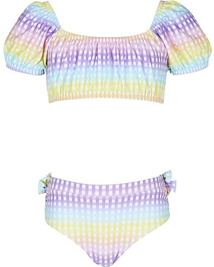 Girls pink gingham puff sleeve bikini set