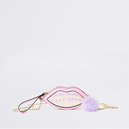 Girls pink glitter lips purse