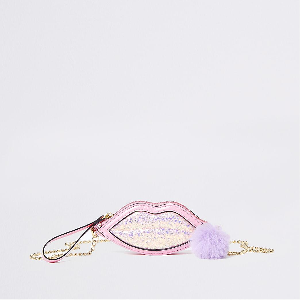 Girls pink glitter lips purse