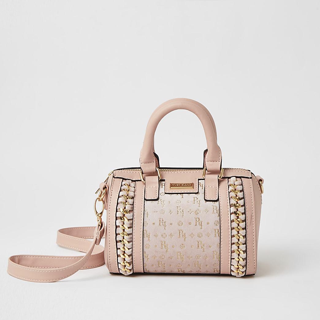 Girls pink glitter monogram bowler bag