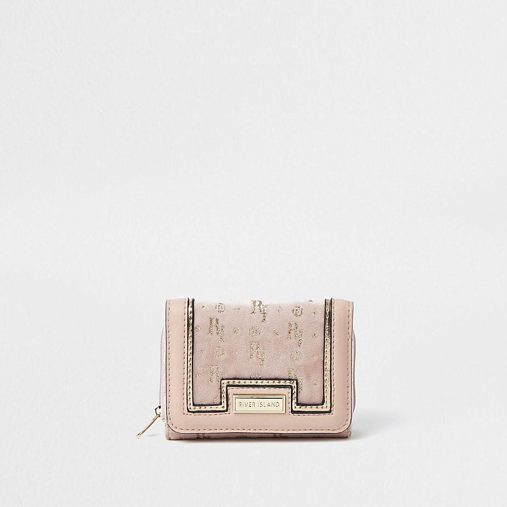 Girls pink glitter monogram purse