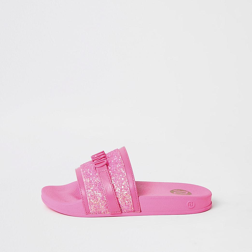 Girls pink glitter 'River Island' sliders