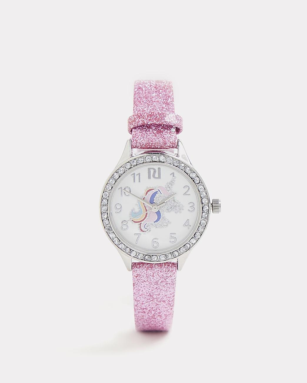 Girls pink glitter unicorn watch