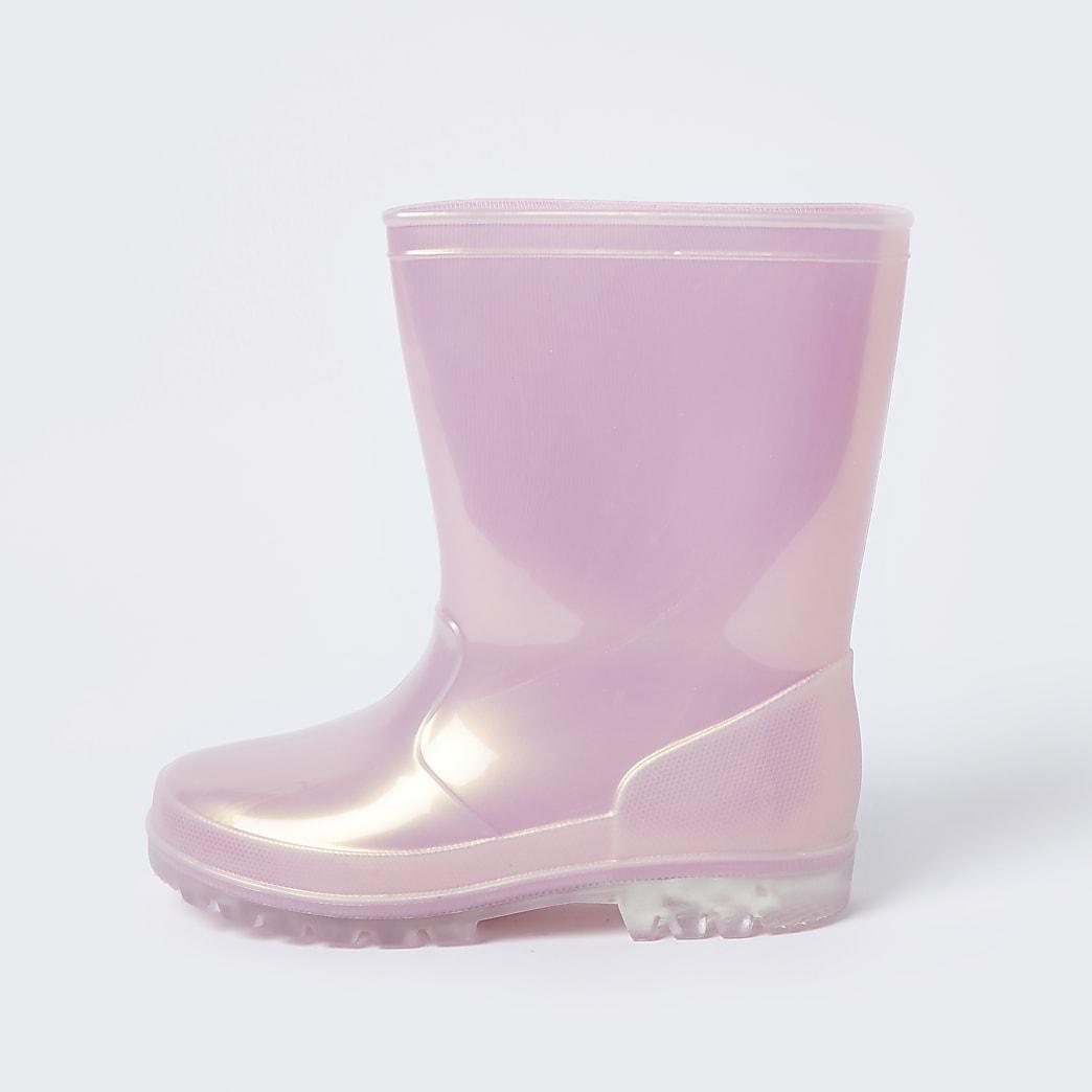 Girls pink glitter wellington boots