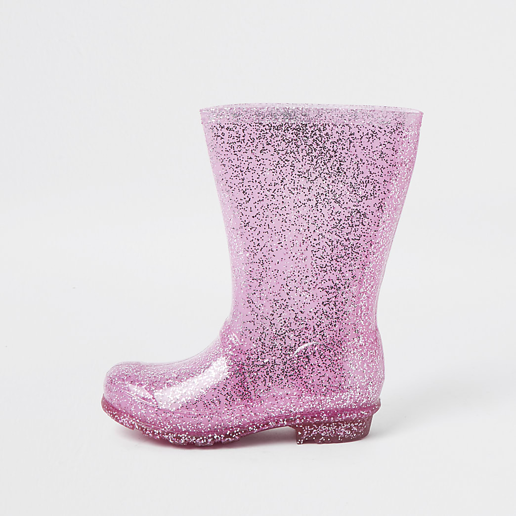 Girls pink glitter welly