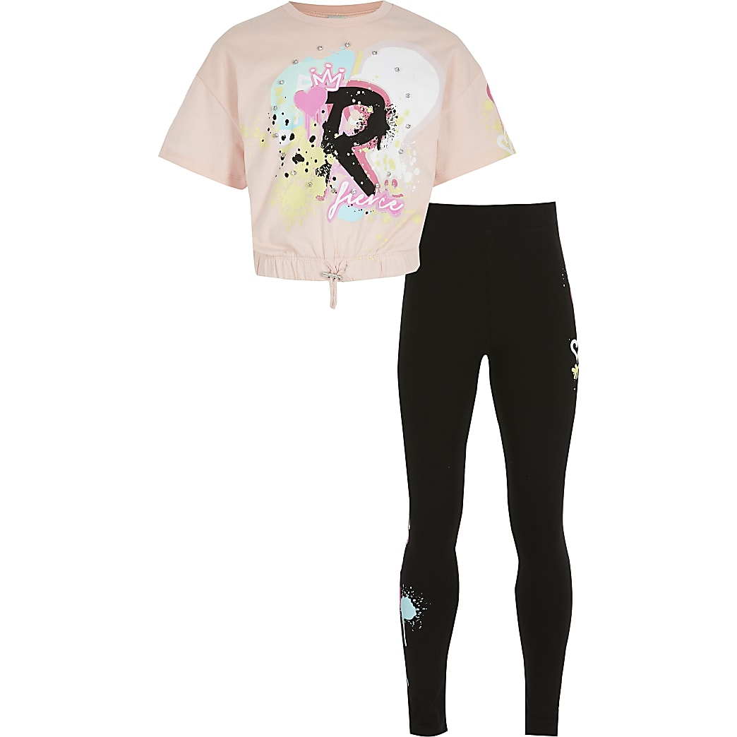 Girls pink graffiti print t-shirt outfit