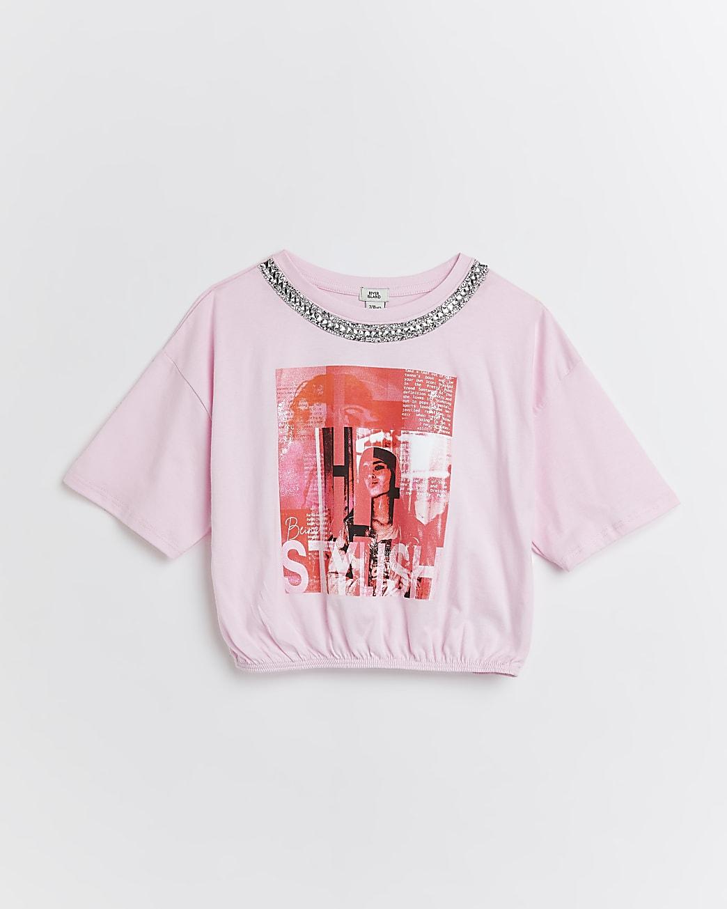 Girls pink graphic embellished cinch t-shirt