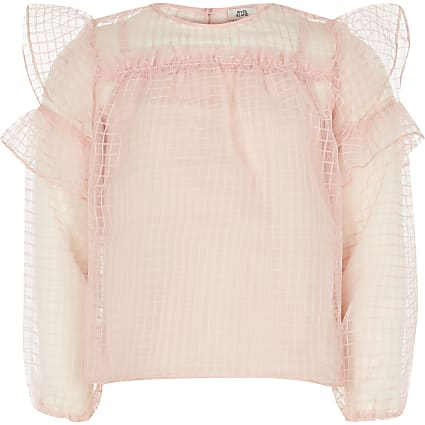 Girls pink grid organza frill top
