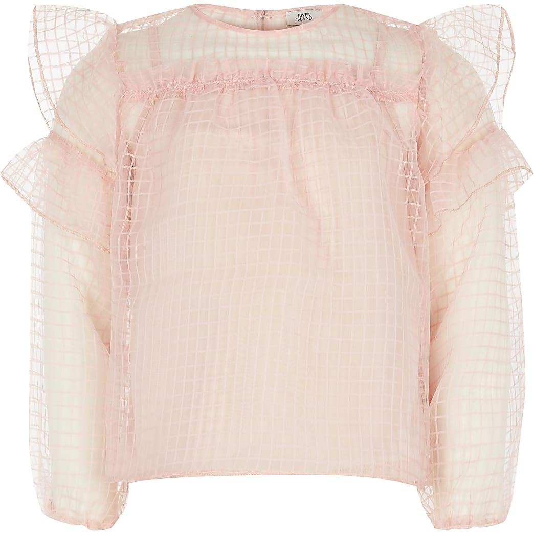 Girls pink grid organza frill top
