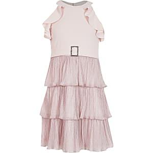 Girls pink halter frill belted dress