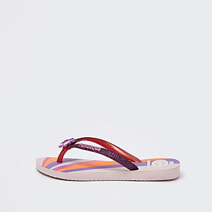 Girls pink Havaianas unicorn flip flops