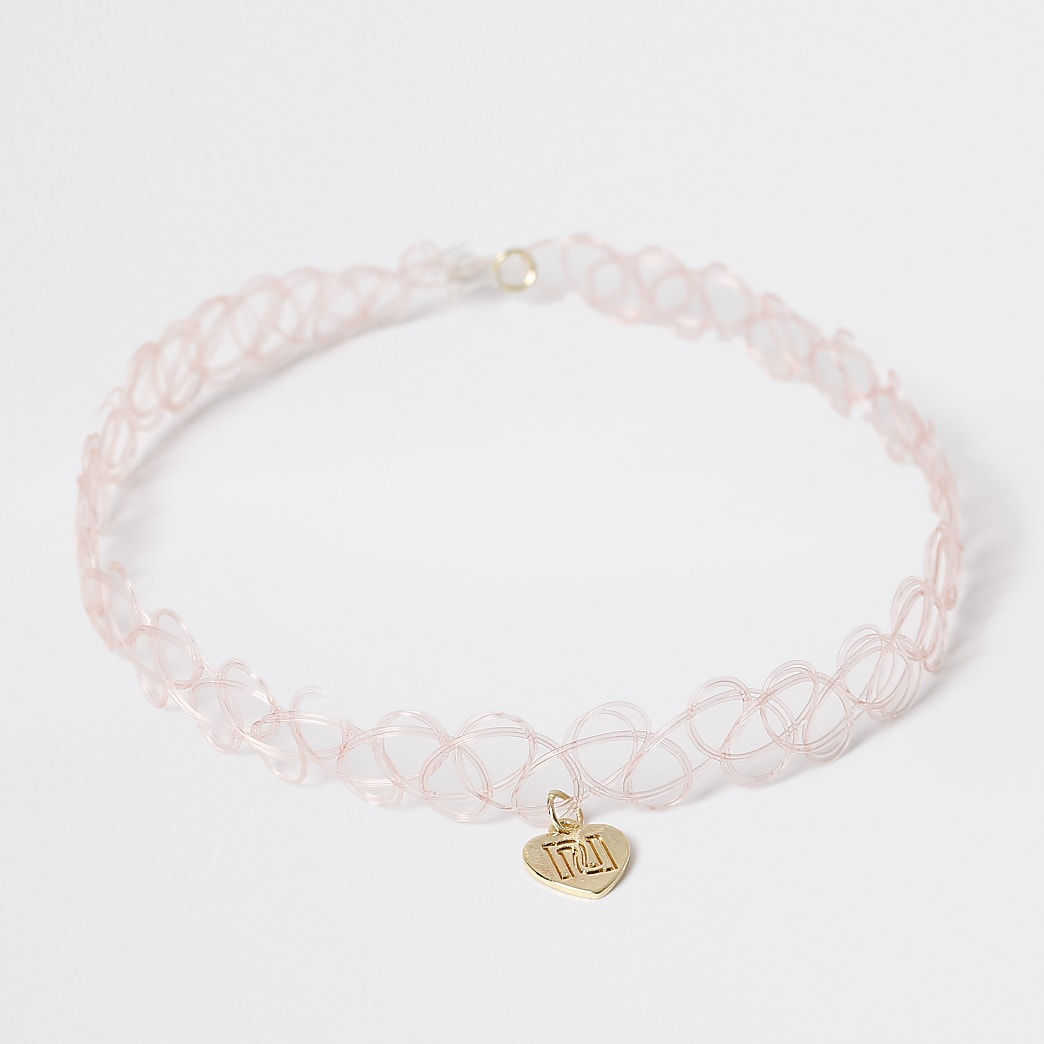 Girls pink heart choker