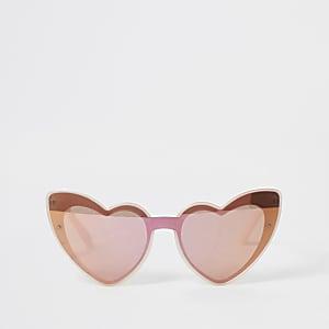 Pinke, verspiegelte Sonnenbrille in Herzform