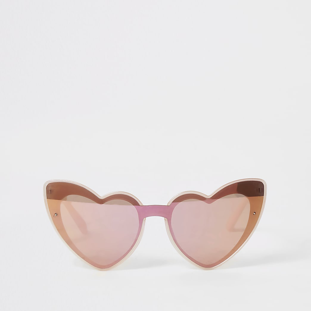 Girls pink heart shape mirrored sunglasses