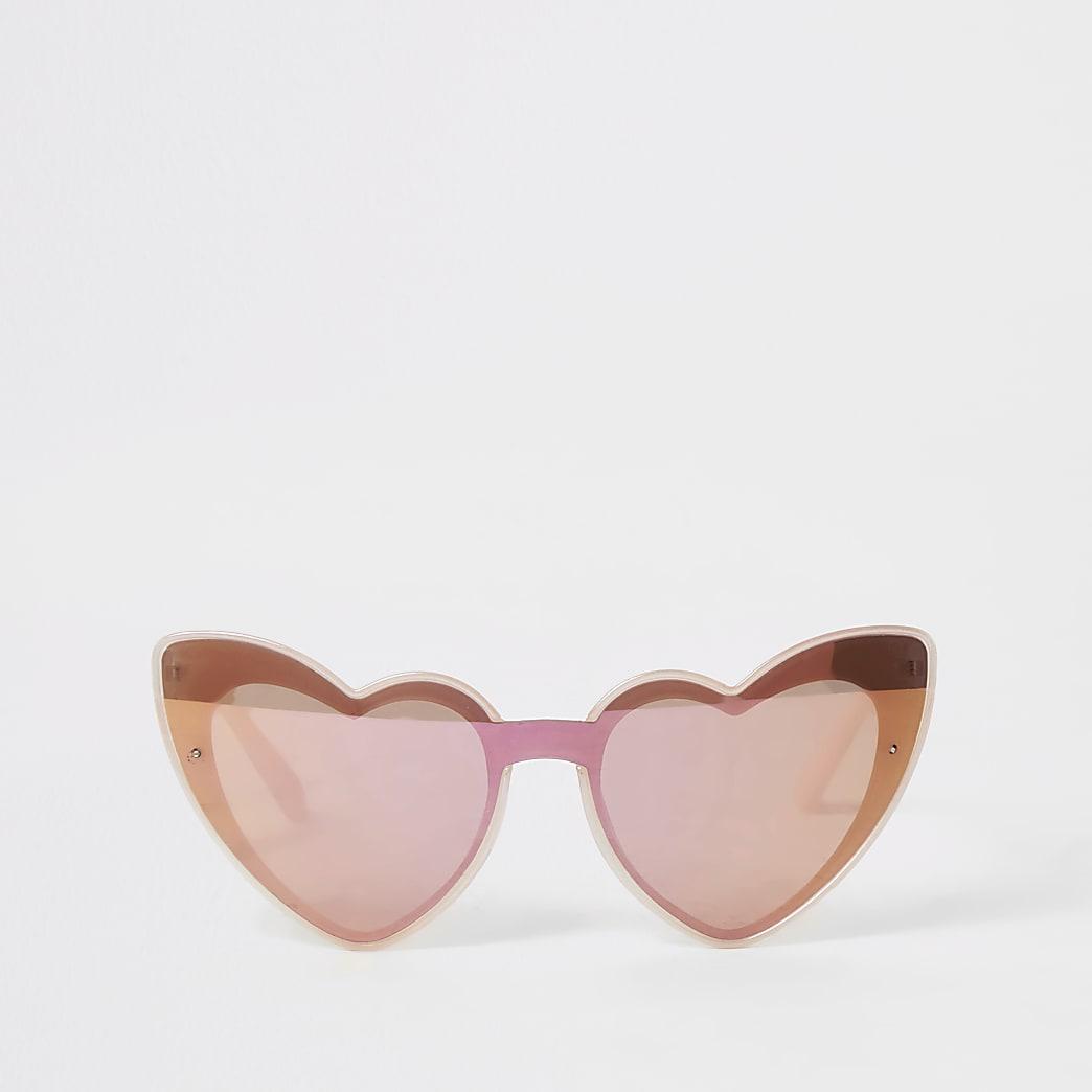 Roze zonnebril met spiegelglazen in hartjesvorm voor meisjes