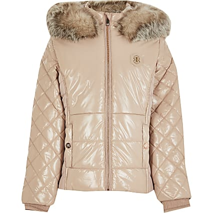 Girls pink high shine padded jacket