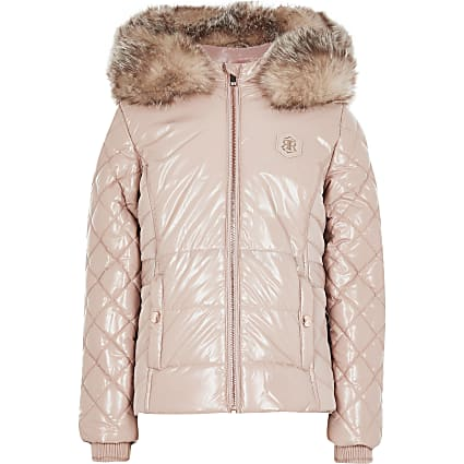 Girls pink high shine puffer jacket
