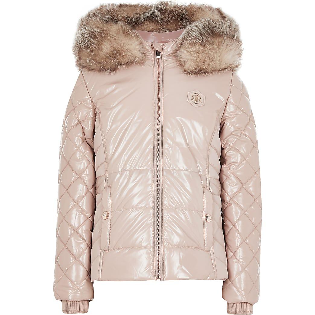 Girls pink high shine puffer jacket