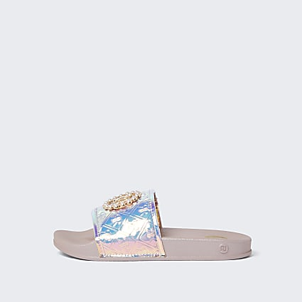 Girls pink holographic monogram sliders