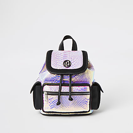 Girls pink holographic RI backpack