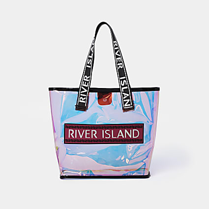 Girls pink holographic shopper bag