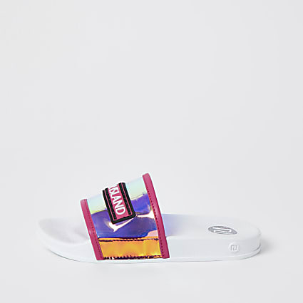 Girls pink holographic sliders