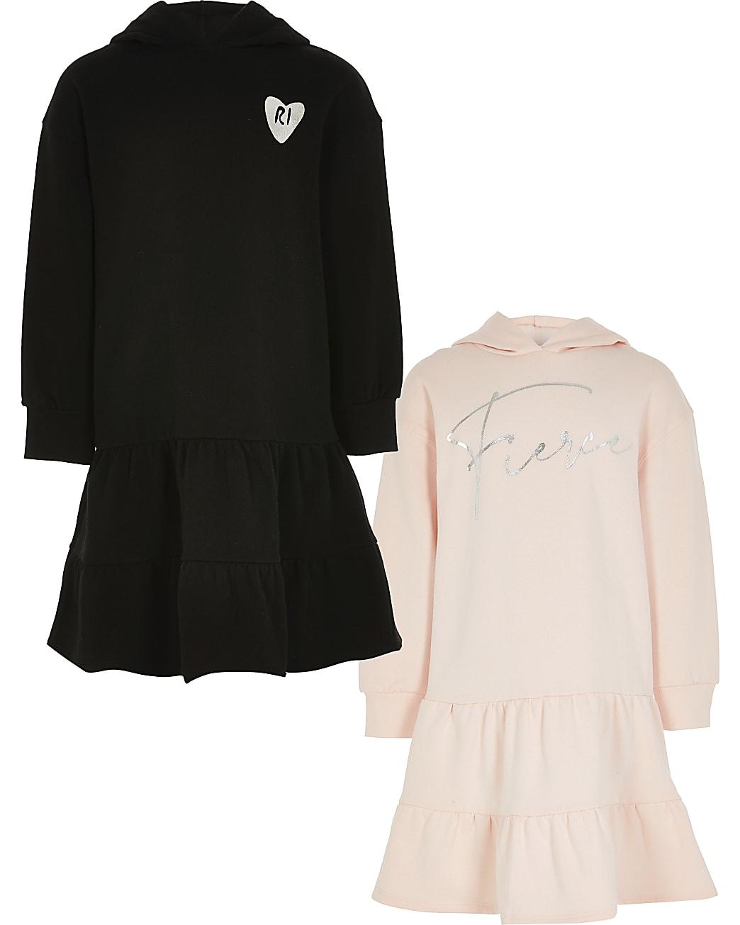 Girls pink hooded sweatshirt dress 2 pack