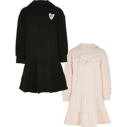 Girls pink hooded sweatshirt dress 2 pack