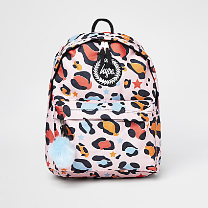 Girls pink Hype animal print backpack