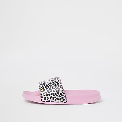 Girls pink Hype animal print sliders