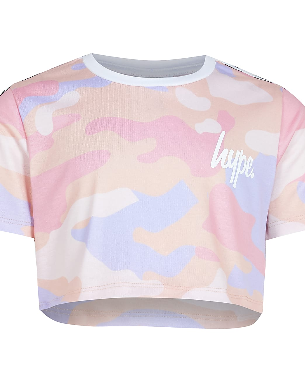Girls pink Hype camo crop top