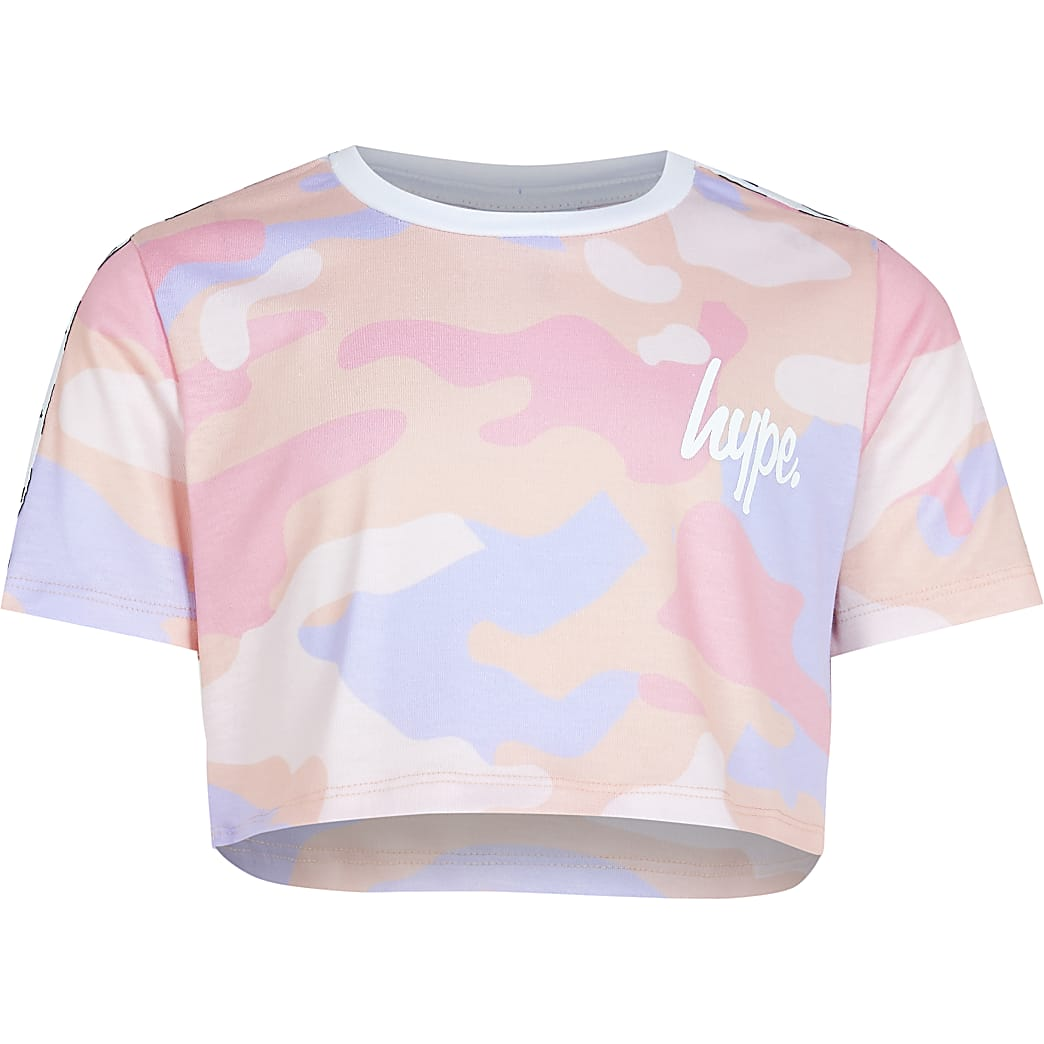 Girls pink Hype camo crop top