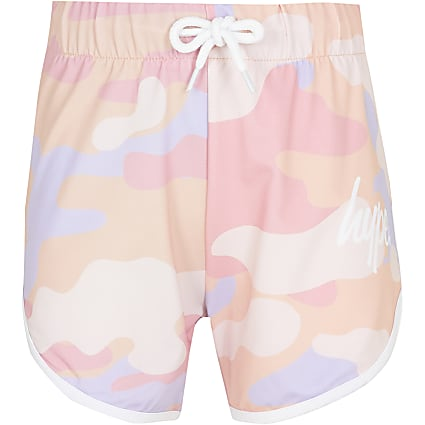 Girls pink Hype camo shorts