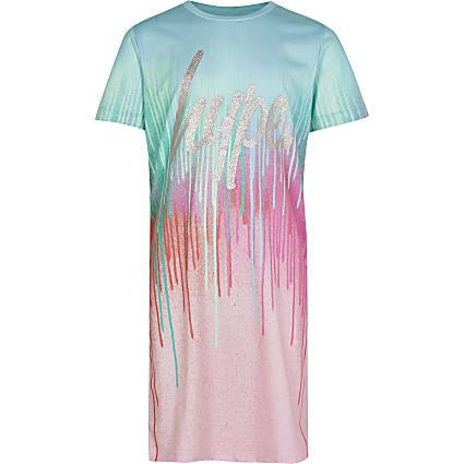 Girls pink Hype drip print t-shirt dress