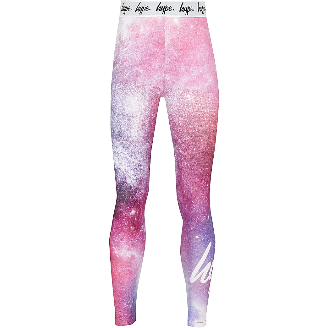 Girls pink Hype galaxy leggings