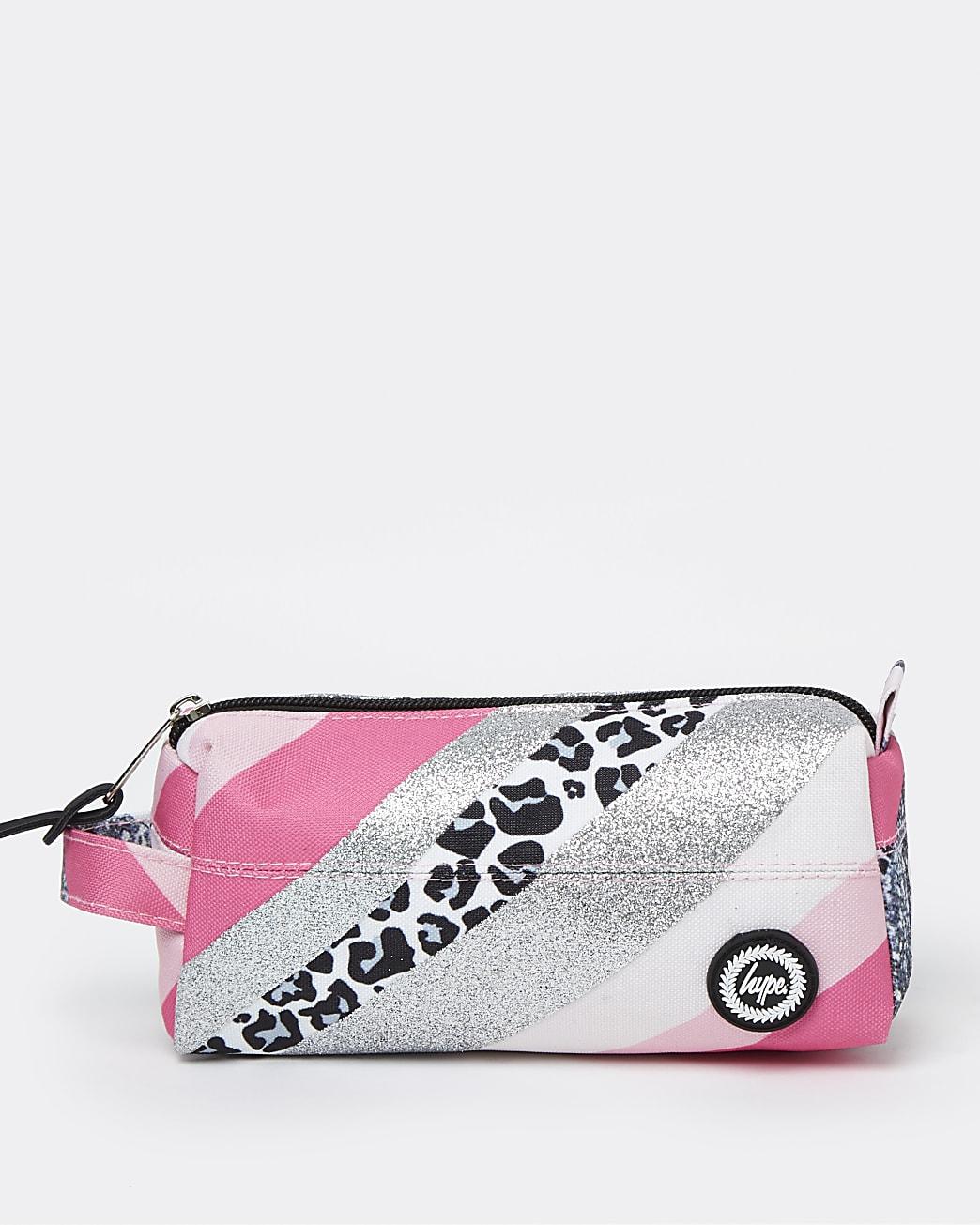 Girls pink Hype glitter leopard pencil case