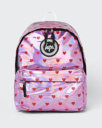 Girls pink Hype hearts backpack