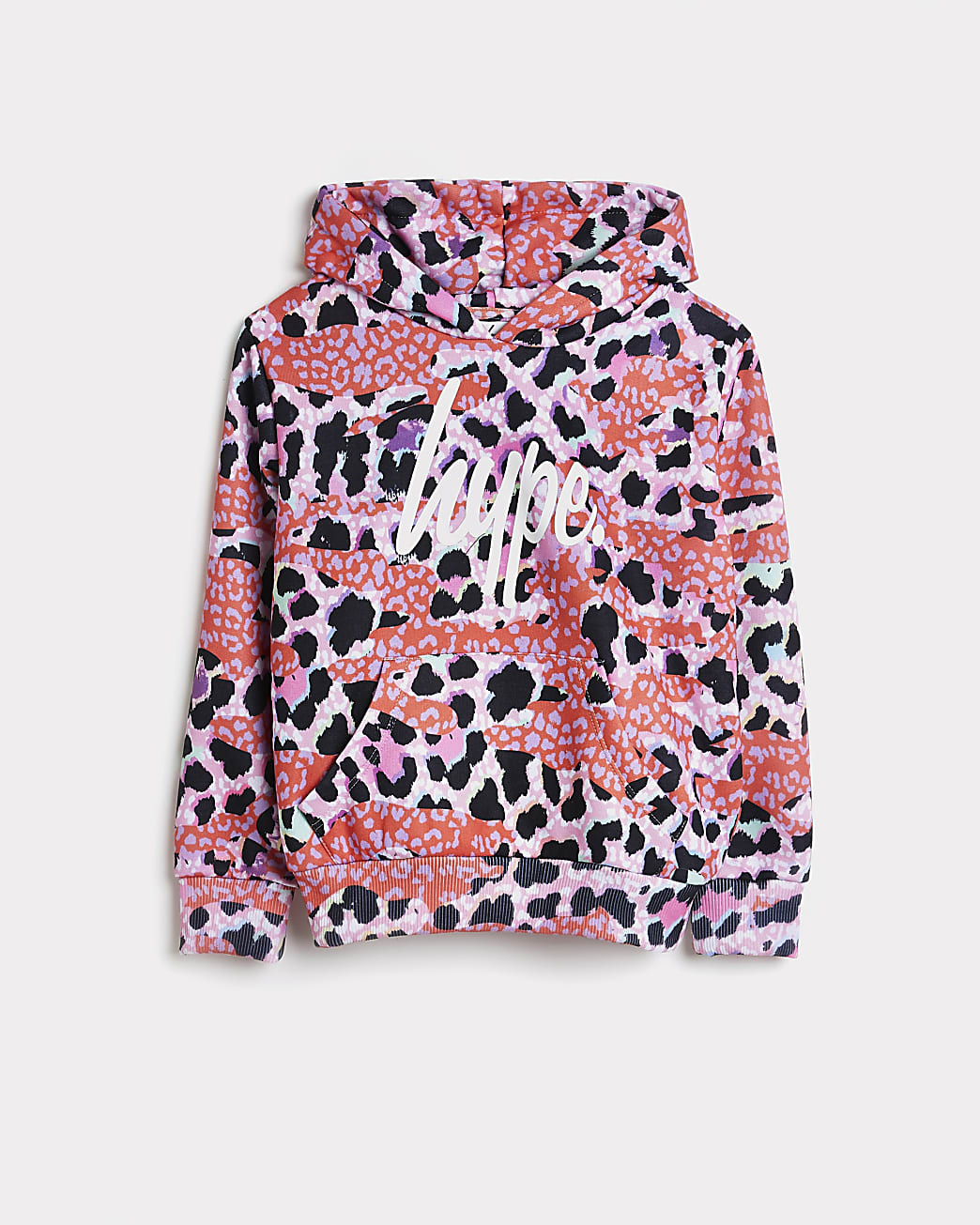 Girls pink Hype leopard print hoodie