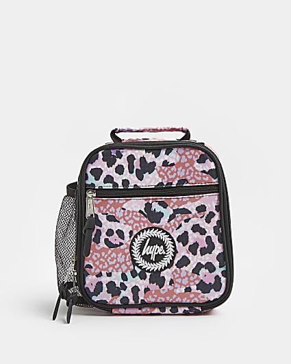 Girls pink Hype leopard print lunch box