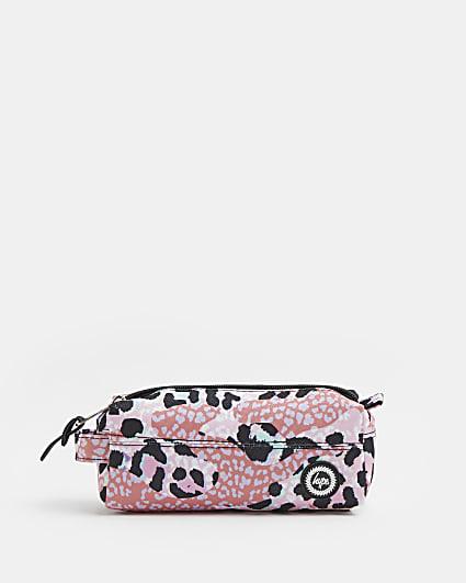 Girls pink Hype leopard print pencil case