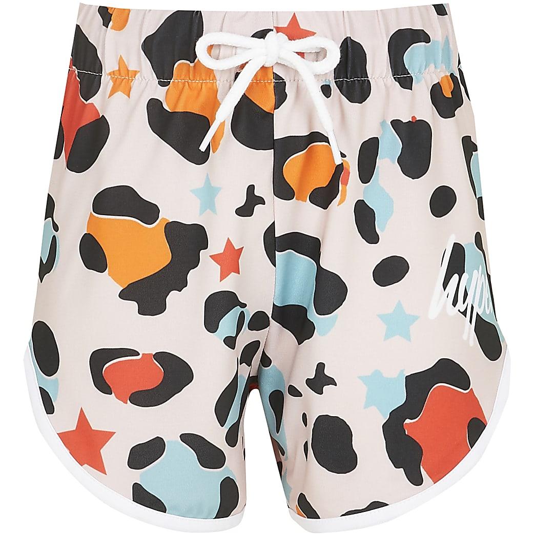 Girls pink Hype leopard shorts