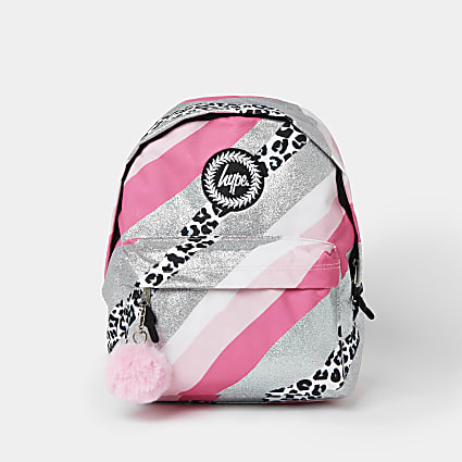 Girls pink Hype leopard stripe backpack