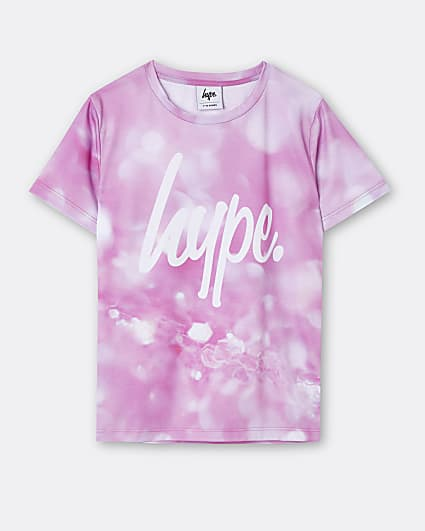 Girls pink Hype print t-shirt