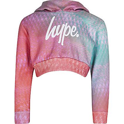 Girls pink Hype snake print hoodie