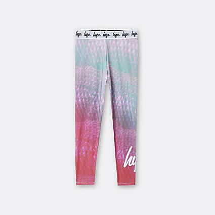 Girls pink Hype snake print leggings
