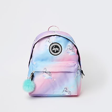 Girls pink Hype unicorn backpack