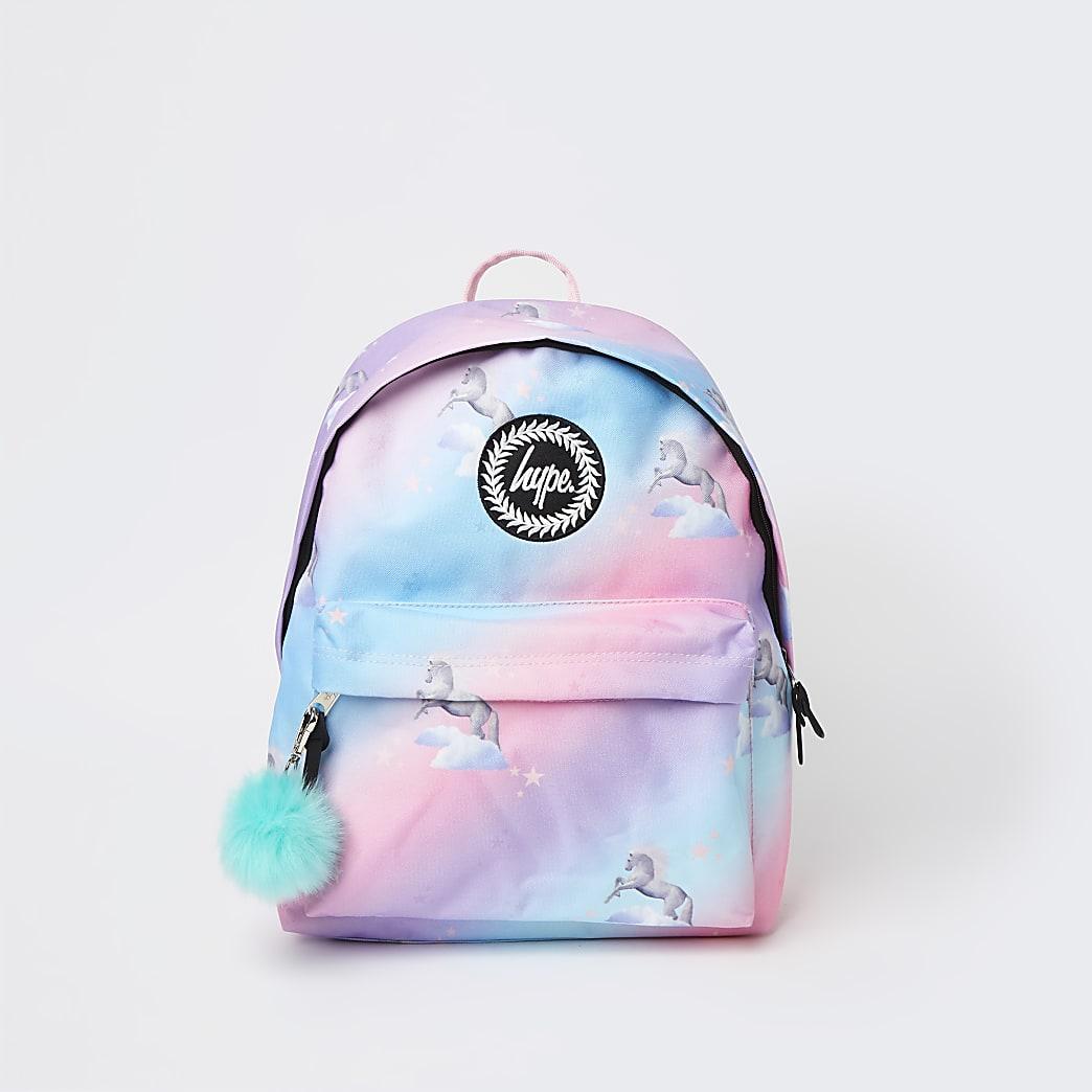 Girls pink Hype unicorn backpack